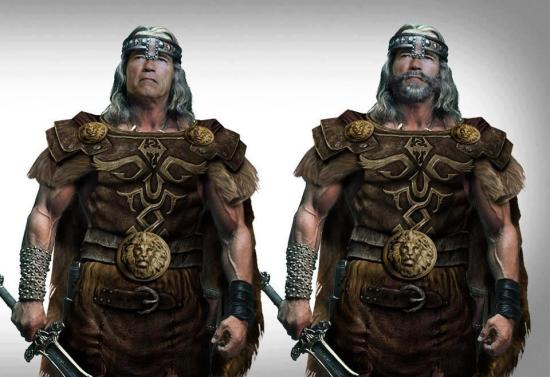Eu prefiro o Conan de barba, mas sem o símbolo de Skyrim
