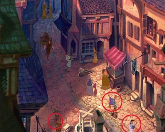 O tapete mágico do Aladdin, Bela de A Bela e a Fera, e Pumba de O Rei Leão, são vistos na rua. (eu não consegui entender que aquilo é o pumba, mas blz!)