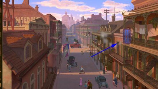 "O Tapete Mágico de Aladdin pode ser visto na cena de abertura de ""A Princesa e o Sapo""."