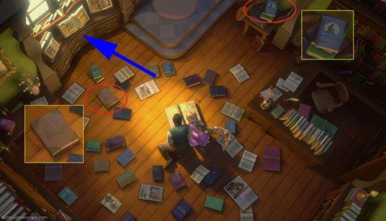 """Novamente em """"Enrolados"""", três filmes clássicos da Disney aparecem em forma de livro: - """"A Bela Adormecida"""" aparece do lado da janela. - Uma cópia de """"A Bela e a Fera"""" no chão. - A Pequena Sereia em cima da mesa lateral."""