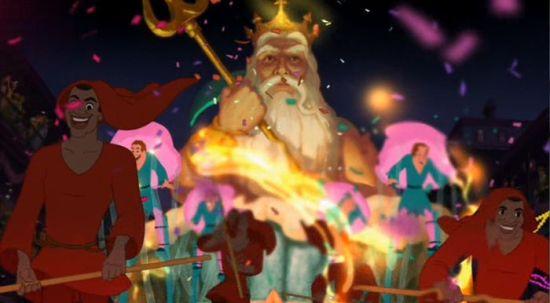 """Em """"A Princesa e o Sapo"""", temos uma referência ao Rei Tritão."""