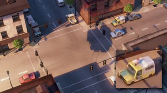 """Em """"Up: Altas Aventuras"""" (2009), também é possível encontrar o carro da Pizza Planet. Ele é mostrado quando a casa do Carl está flutuando."""
